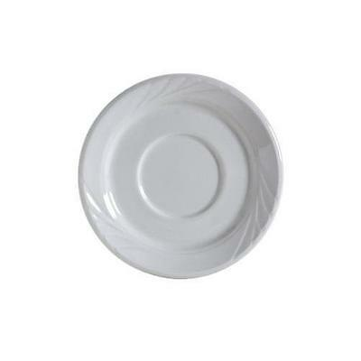"LOT OF 35 NEW Tuxton Tuxcare YPE-054 Saucer, 5-1/2"", Embossed,  Porcelain White"
