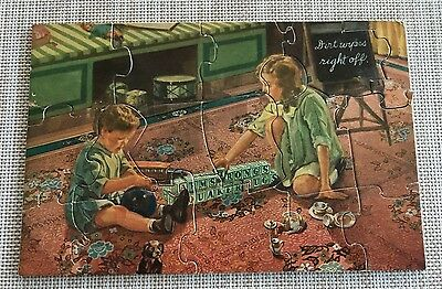 1930s Armstrong's Quaker Rugs Advertising, 2-Sided Jigsaw Puzzle w/ Envelope