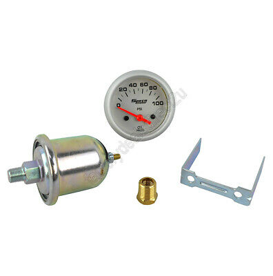 "GENUINE New Speco Meter 2"" Electrical Oil Pressure Gauge Silver 524-20"