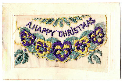 Vintage Postcard - WW1 Embroidered Christmas Card, Paris 1918