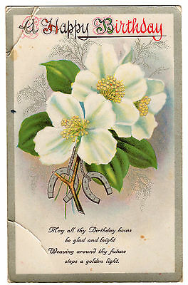 Vintage Postcard - Happy Birthday, white flowers & horse shoes
