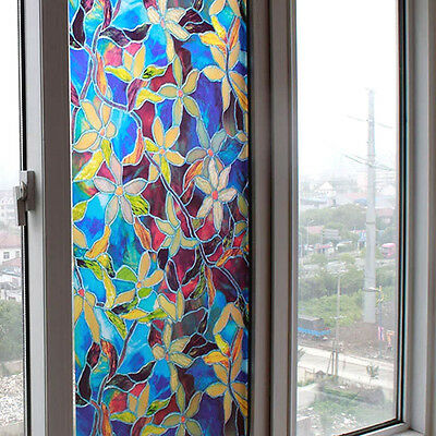 Waterproof Static Cling Stained Flower Window Glass Film Privacy Decor Sticker