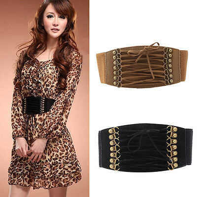 Women Lady Elastic Buckle Wide/Tassel Waistband Retro Corset Stretch Waist Belt