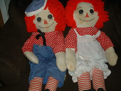 "Vintage Raggedy Ann & Andy Dolls 48"" Huge Hand Made Removable Clothes Life Size"