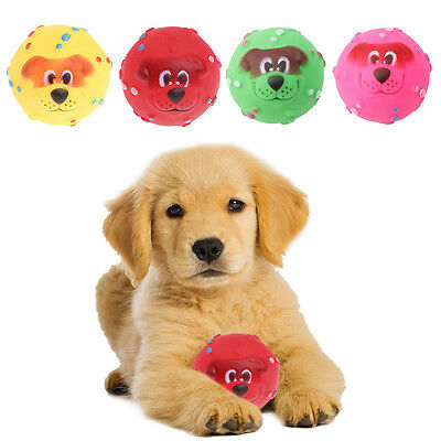 Pet Dog Giggle 7CM Ball Tough Treat Training Chew Sound Funny Toy Squeaky