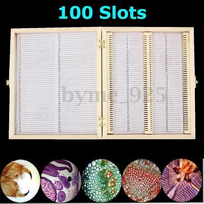 100 Slots Wooden Biology Microscope Glass Slides Case Box Storage Lab Specimens
