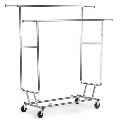 Commercial Chrome Double Bar Clothing Garment Rolling Collapsible Rack Hanger