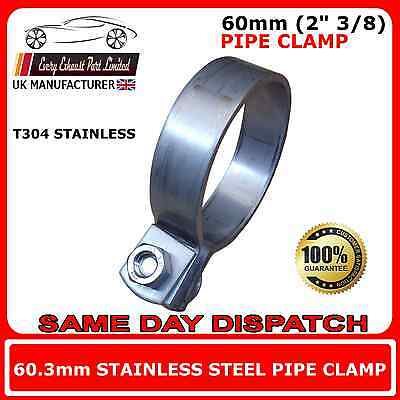 """60mm (2"""" 3/8) Heavy Duty Stainless Steel T304 Exhaust Pipe Clamps"""