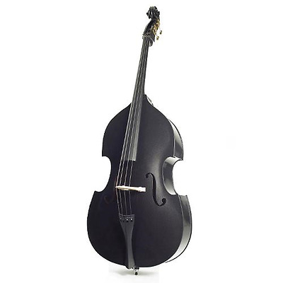 Harlequin 4/4 Size Black Coloured Double Bass Outfit