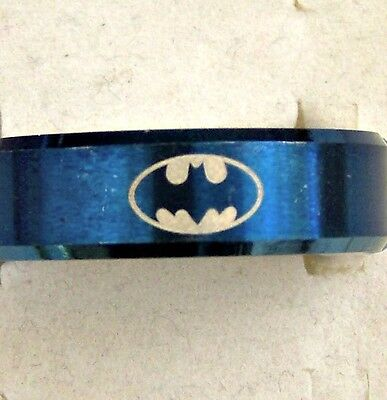 Size:7  ~~ Batman  ~~ Symbol ~ Blue ~ S/steel ~  Ring --- (Great_ Gift)