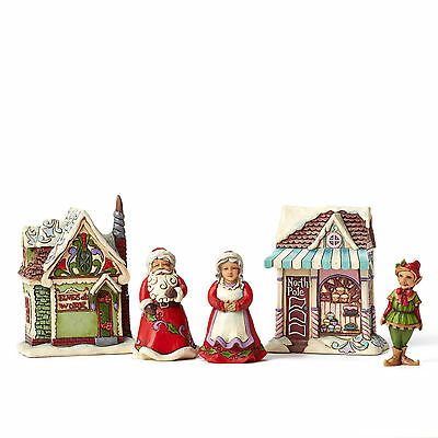 Jim Shore Figurine*5 Piece Set SANTA CHRISTMAS VILLAGE*New*WORKSHOP*Elf*4044516