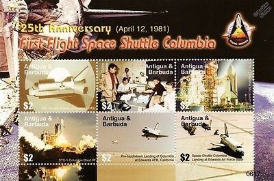 Space Shuttle COLUMBIA (OV-102) 1981 STS-1 First Flight Stamp Sheet 2006 Antigua