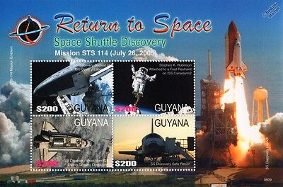 Space Shuttle DISCOVERY OV-103/STS-114 Return to Space Stamp Sheet (2006 Guyana)