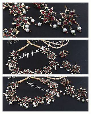 Flower Necklace With War Studs & Ring Gold Plated