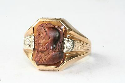 Antique Early 1920's 10K Gold Dual Face Tigers Eye Cameo Diamond Mens Ring