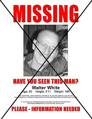 ★ BREAKING BAD (SERIE TV) Walter White Missing flyer PROP MOVIE REPLICA film