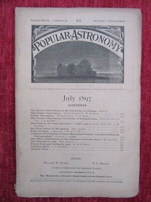 1897 Popular Astronomy Monthly Magazine July Science Vintage Victorian us4