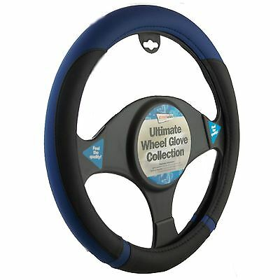 Black And Blue Steering Wheel Cover Leather Look Universal 37-39cm