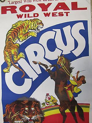 Orig Old ROYAL WILD WEST CIRCUS Poster 'Largest Wild West Circus in the World'