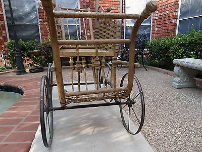 Doll pram Victorian age antique stroller wood and metal buggy chair