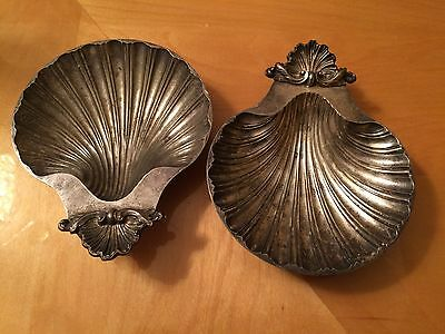 Vintage Lot of 2 Sheffield England Reproduction of Design Silverplate Shell Dish