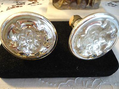 *rare* Antique Mercury Glass Curtain Tie Backs- Or Door Knobs- Estate