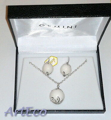 ArtEco - White Coral - 925 Sterling Silver Set - the Necklace & Earrings beads