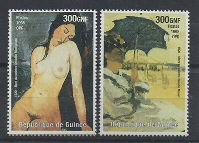 Two Rare Amedeo Modigliani Claude Monet Famous Artist Guinee 1998 Mnh Stamps
