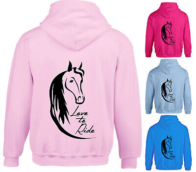 Girls Love To Ride Horse Riding Hoodie Childrens Kids Pony Hoody Back Print Gift