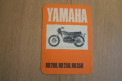 Yamaha RD200 RD250 RD350  New Owner Motorcycle Service Information Booklet 1975