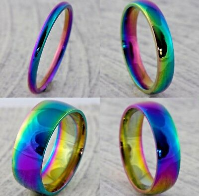 2mm 4mm 6mm 8mm Rainbow Plated Men Women Wedding Ring Band (Size I to Z+3) Pride