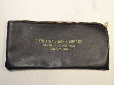 Vintage Zippered Bank Money Bag, Olympia State Bank & Trust, Olympia, WA    B9
