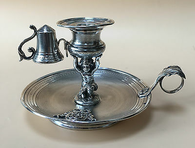 LOVELY LARGE SOLID SILVER CHAMBERSTICK, FRENCH C1850, 327.5g / 11.55oz