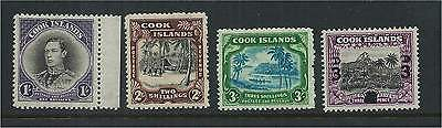Cook Islands 1938/40 Set (4) Mounted Mint - 1/- is MNH SG127/30