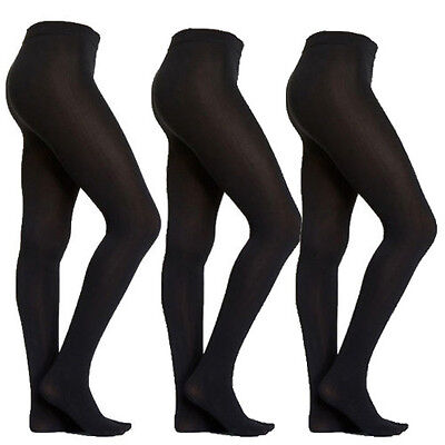 NEW 3 Pairs L/XL Large XL Black Fleece Lined Women's Womens Footed Tights