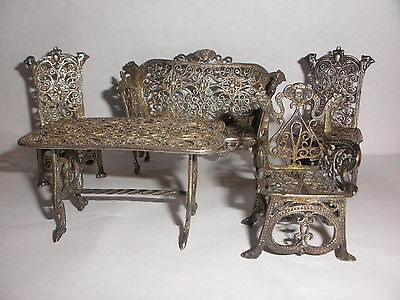 ANTIQUE 5pc MINIATURE DOLL FURNITURE STERLING SILVER WITH FACES AND BIRDS HEADS