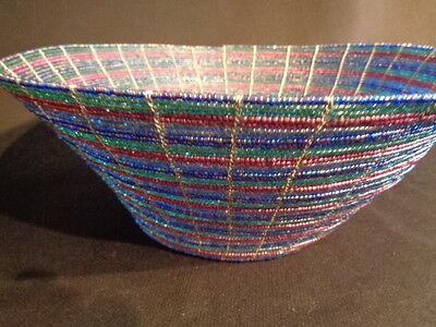 Fine Wire Glass Beaded Basket  Beautiful Colors