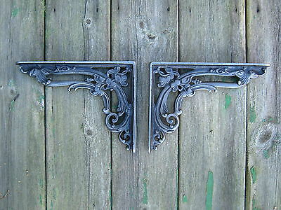 Antique Style Pair of Cast Iron Victorian, Floral, Vintage  Shelf  Brackets