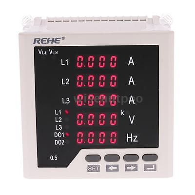 96*96mm 3 Phase LED AC Current Volt Frequency Panel Meter 50Hz AC5A AC450V P2I7