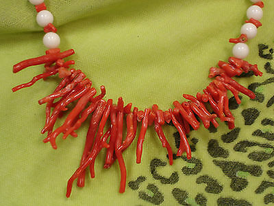 """Natural Taiwan Red Coral Branches / White Corals Beads Necklace  21"""""""