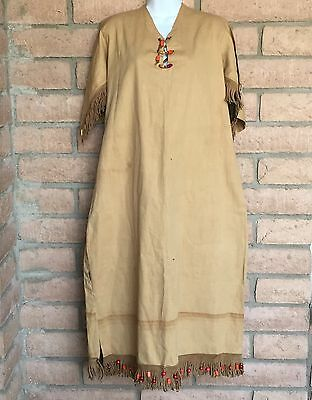 VTG Camp Fire Girls Beaded Ceremonial Dress Leather Fringe Gown Wo He Lo Uniform