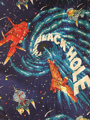 Vintage Disney's The Black Hole Flat Bed Sheet - Twin Size Bedding Fabric RARE