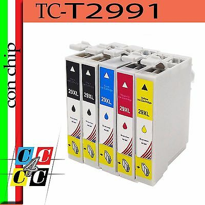 5 Cartucce Tc-T2991 Con  Chip Compatibile  Epson Expression Home Xp247 Xp245