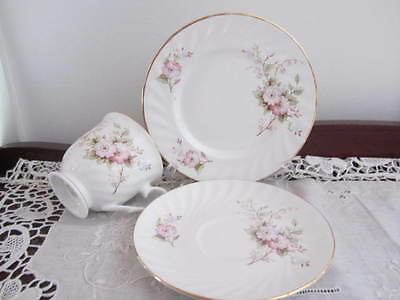 ''pink Floral''  - Cup / Saucer Plate Trio