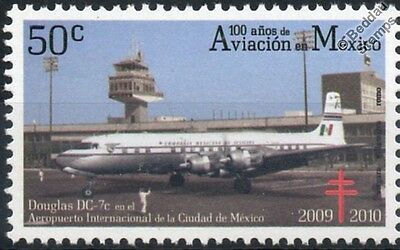 DOUGLAS DC-7 DC-7c Airliner Aircraft Stamp (100 Years of Aviation in Mexico)