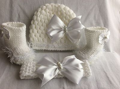 hand knitted /crochet baby girl booties/crochet hat /headband 0-3 months
