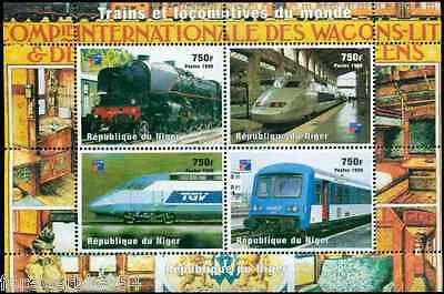 Niger 1999 (1998) Sc 1017 MNH  Trains & Locomotives  combined postage