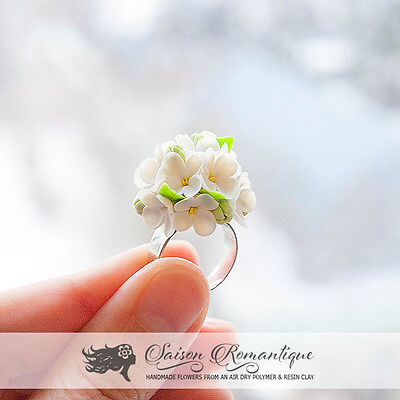 Ring White Lilac Syringa - Polymer Clay Flowers