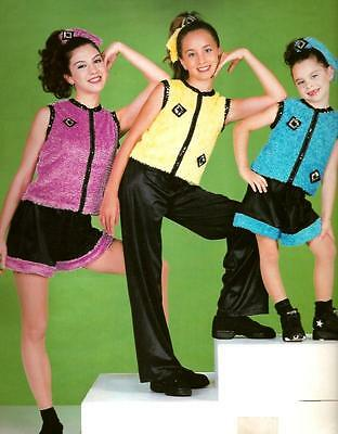Lot of  6 TAKING ME HIGHER Yellow TOP & SHORTS Dance Costume CM 2,CL 1,AM 2,AXL1