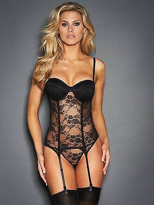 Nwt $62 FREDERICK'S OF HOLLYWOOD VIVIEN ALL OVER LACE CORSET & G STRING Size L